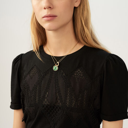 Tee-shirt con pizzo : T-Shirts colore Nero