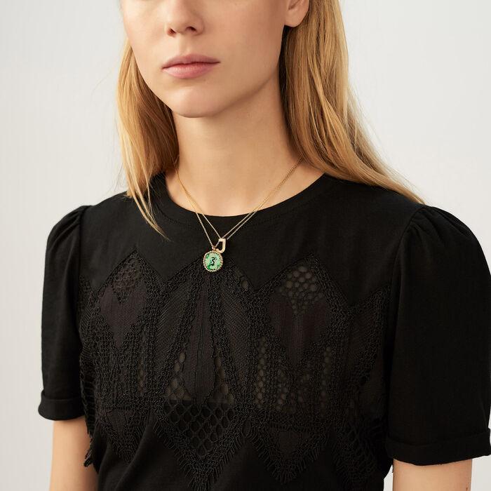 T-shirt con pizzo : T-Shirts colore Nero