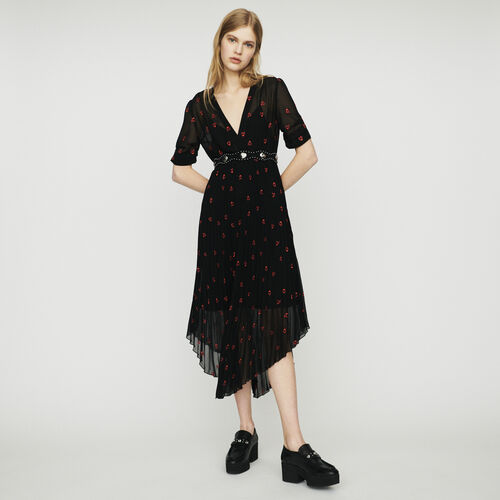 Vestito plissettato con ricami a cuore : Vestiti colore Nero