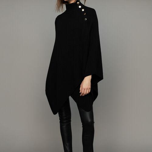 Poncho con collo a camino in misto lana : Maglieria colore Nero
