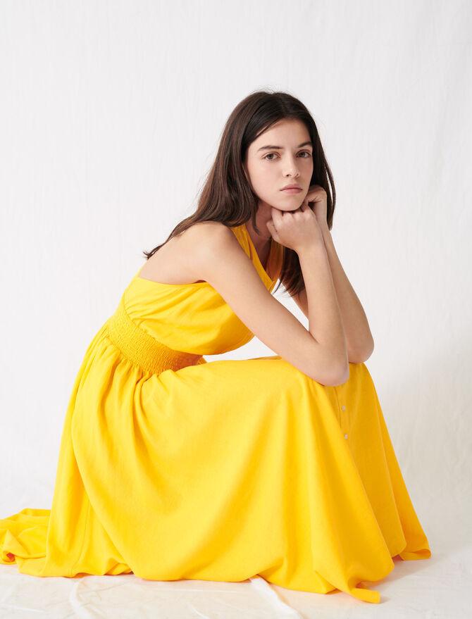 Vestito con smock in lino giallo sole - Vestiti - MAJE