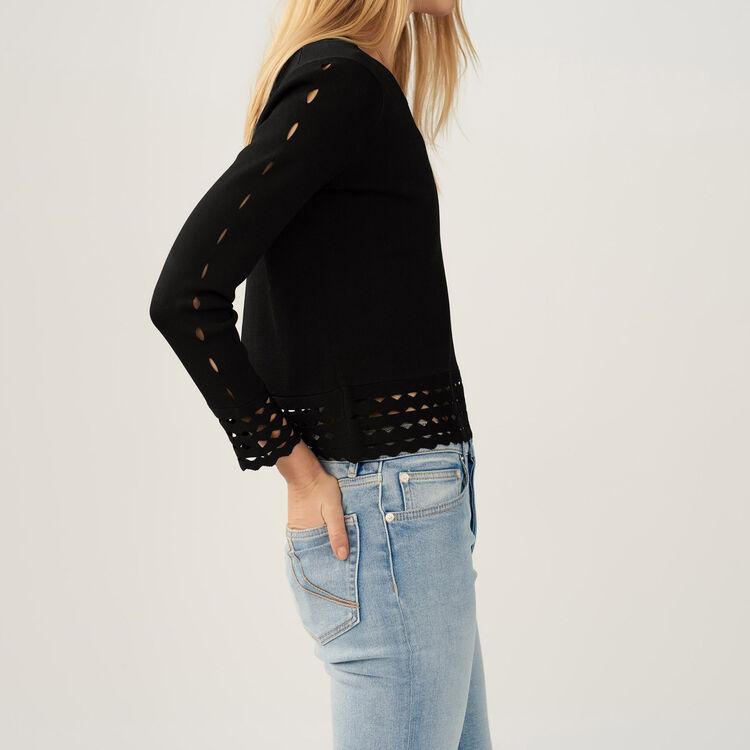 Pullover con dettagli traforati : Maglieria colore Nero