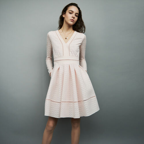 Pleated dress with lace and ribbon : Vestiti colore Nude