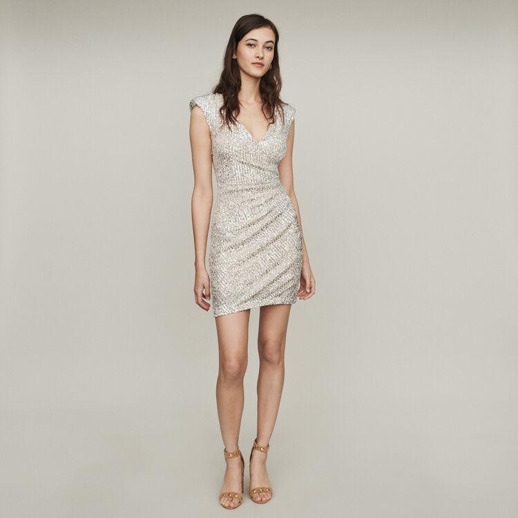 Vestito paillettes senza maniche : Vestiti colore Argento