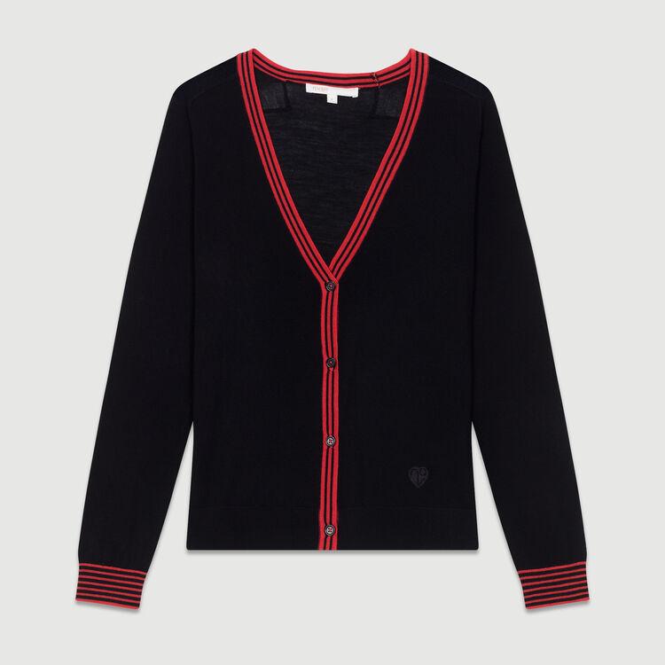 Cardigan fine in lana merinos : Nuova Collezione colore Nero