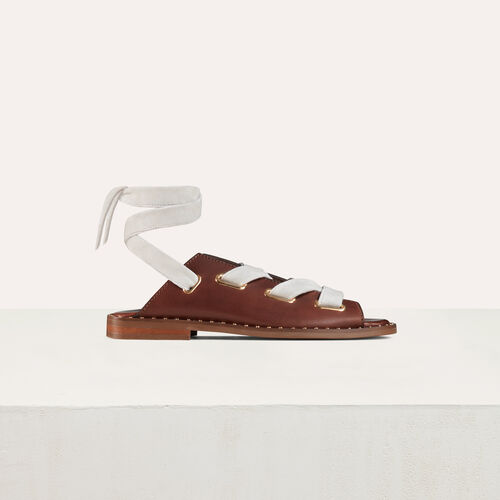 Sandali bassi in pelle : Scarpe colore Nero