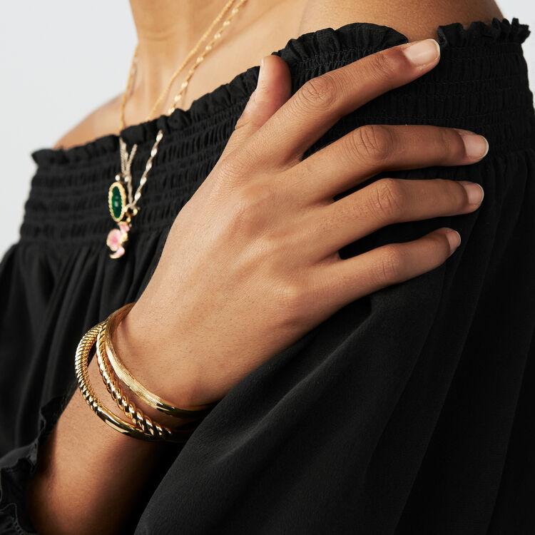 Top in seta con spalle nude : Tops colore Nero