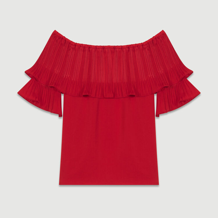 Pleated frills top : Tops colore ROUGE