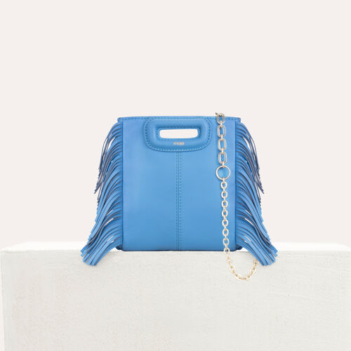 Borsa M Mini in pelle con catena : M Mini colore Blu
