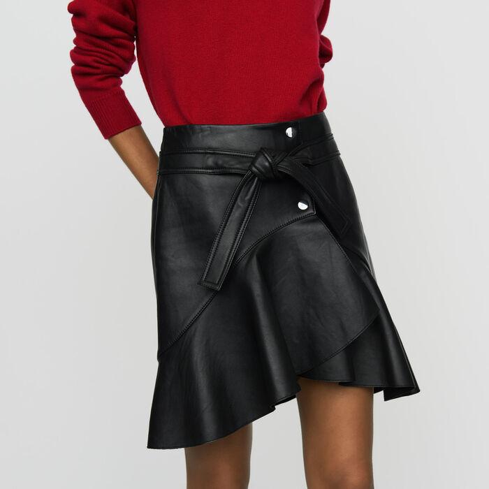 Gonna asimmetrica in pelle : Prêt-à-porter colore Nero
