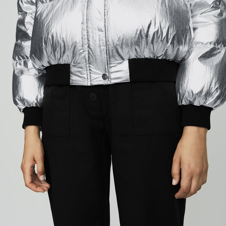 Piumino corto in Nylon Crinkle : Cappotti colore Argento