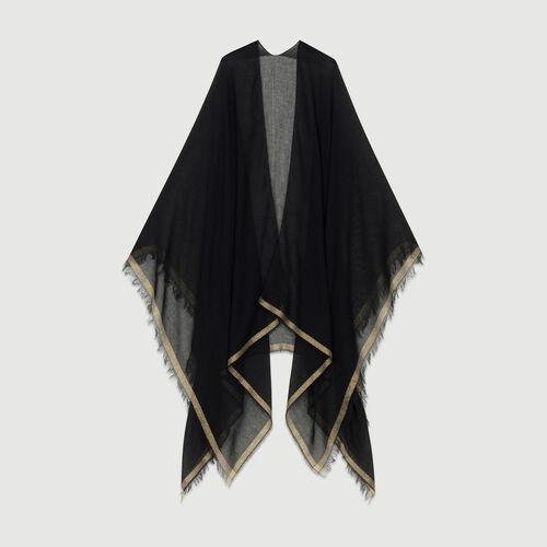 Poncho con bande in Lurex : Sciarpe e Foulard colore Nero