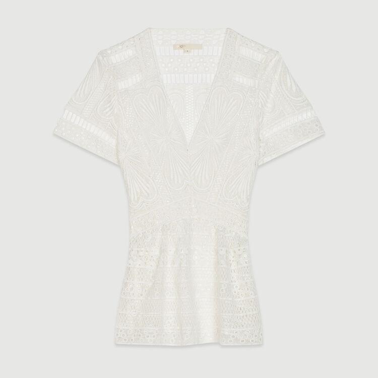 Top in pizzo con basque : Tops e Camicie colore Bianco Sporco