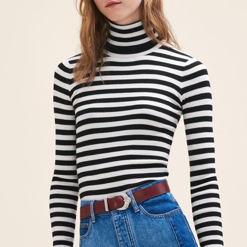 Pullover a collo alto a righe : Pullover e cardigan colore Bicolore