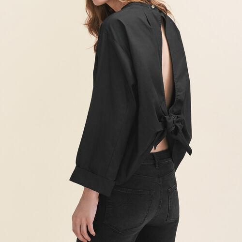 Blusa larga con oblò sulla schiena : Camicie colore Nero
