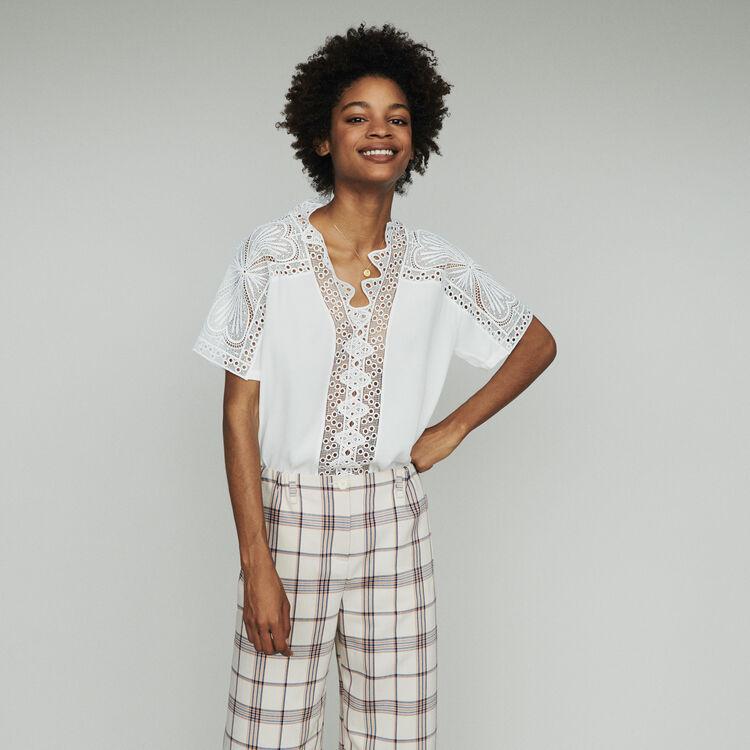 Top con pizzo : Tops e Camicie colore Bianco Sporco