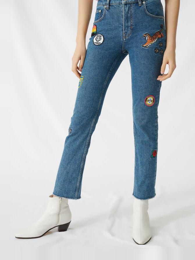 Jeans dritti con applicazioni ricamate - Pantaloni e Jeans - MAJE