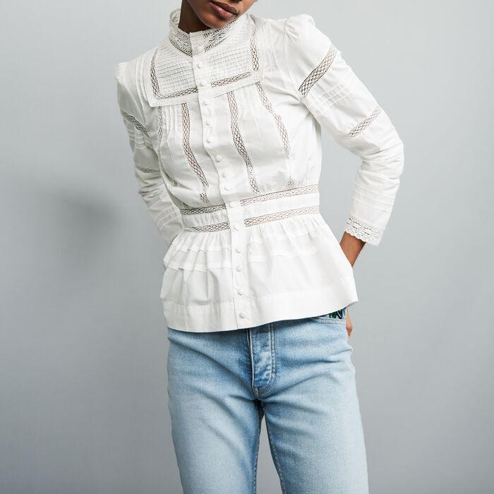 Scamiciato in popeline con ricami : Camicie colore Bianco