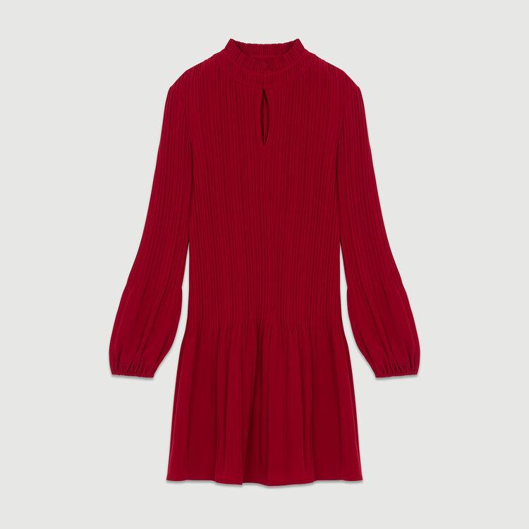 Vestito corto plissettato : Vestiti colore Lampone