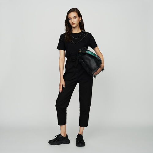 Tee-shirt loose con borchie : SoldesUK-All colore Nero