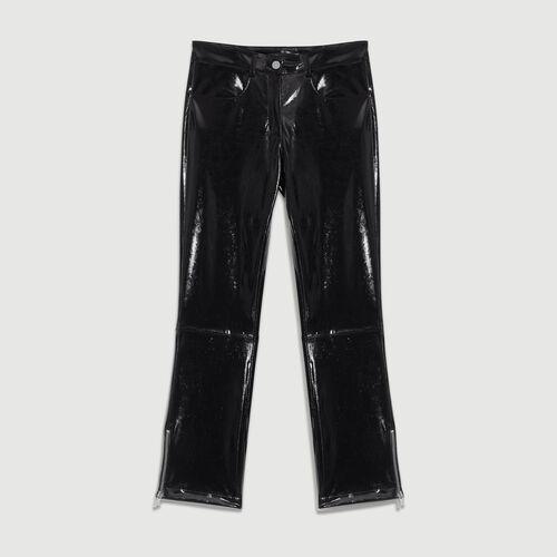 Pantaloni a sigaretta in Skaï : Pantaloni colore Nero