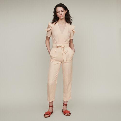 Tuta pantalone bimateriale : Pantaloni e Jeans colore Mandarino