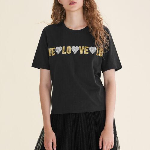 T-shirt in cotone con paillette : T-Shirts colore Nero