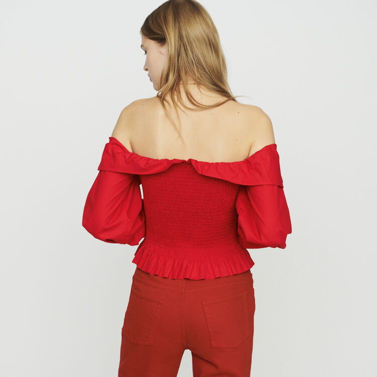 Smocked top with bare shoulders : Tops colore Rosso
