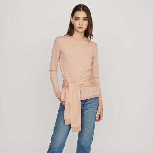Pull fine con nastro ad annodare : Pullover e cardigan colore Corallo