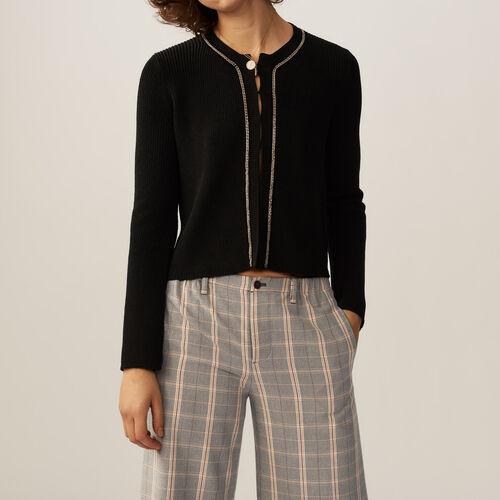 Gilet fine in cotone misto a filati : Pullover e cardigan colore Nero
