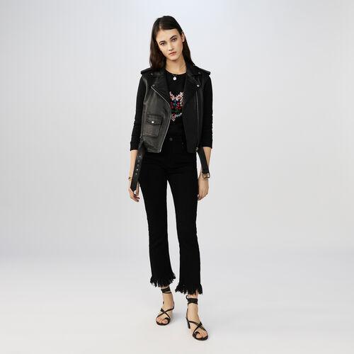 Jeans dritti a frange : Pantaloni colore Nero