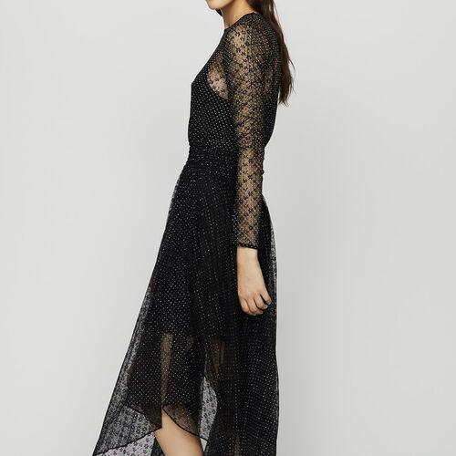 Vestito in tulle e plumetis : Vestiti colore Nero