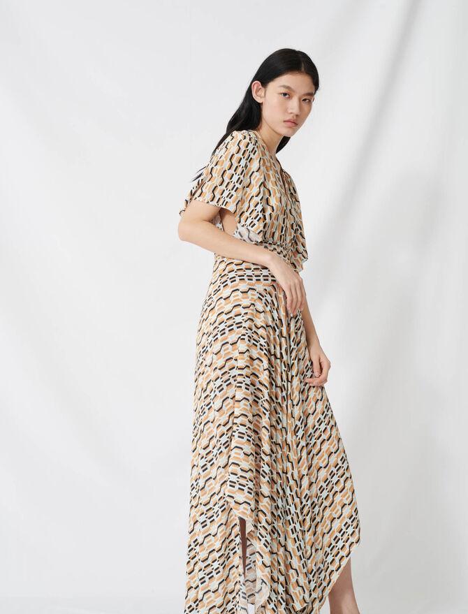 Abito foulard stampato smock in vita - Vestiti - MAJE