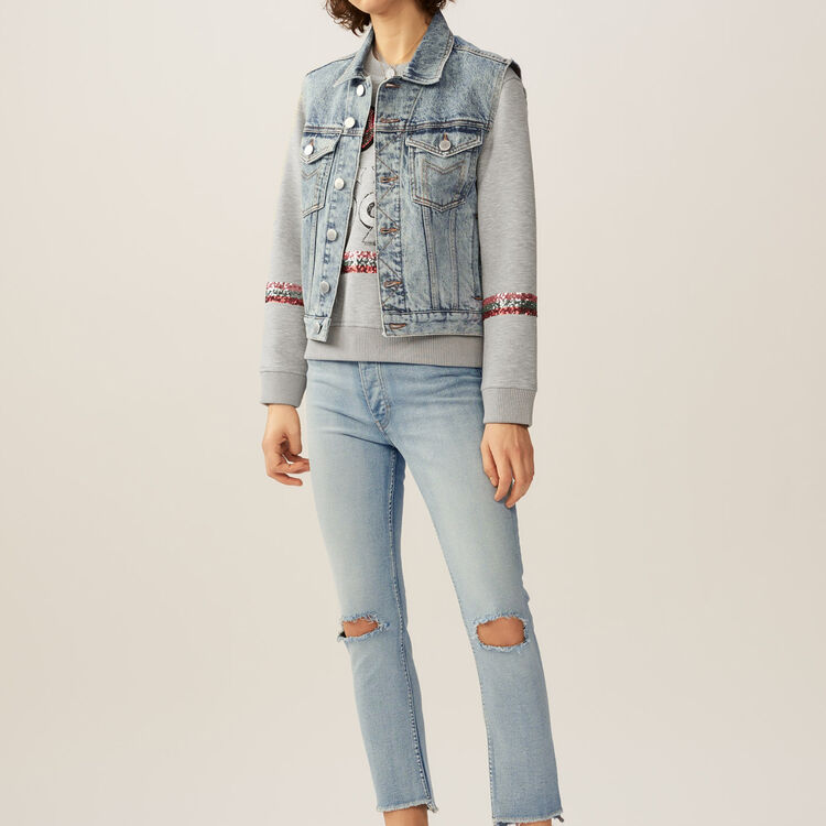 Giubbotto in jeans senza maniche : Giubbotti colore Blu