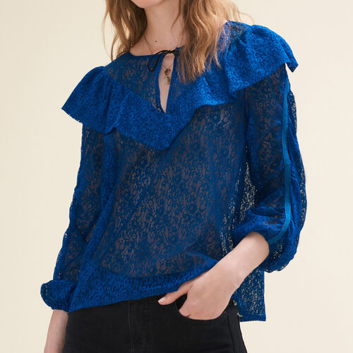 Top in pizzo : Tops colore Blu