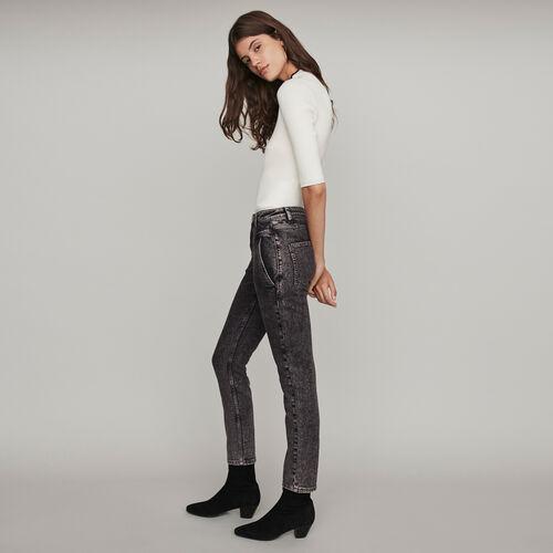 Jeans delavè a vita alta : Collezione Inverno colore Antracite