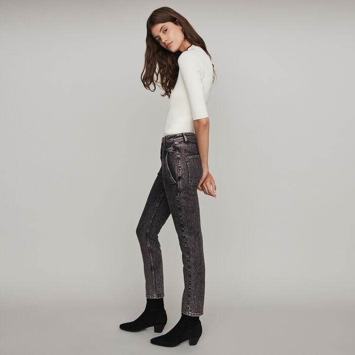 Jeans delavè a vita alta : Pantaloni e Jeans colore Antracite