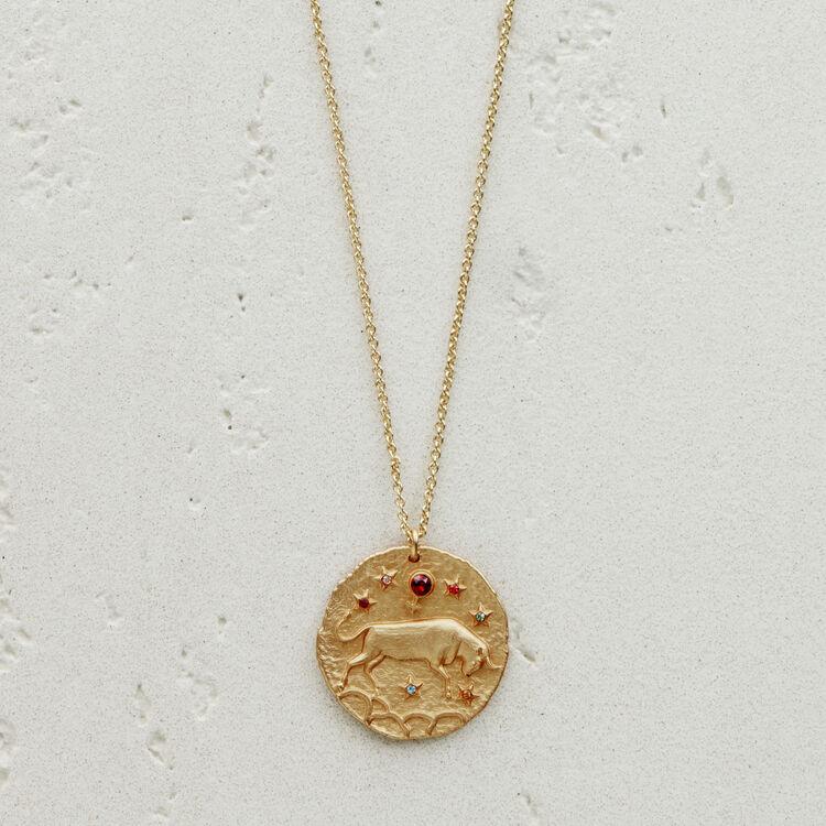Collana segno zodiacale Toro : Medaglione colore OR