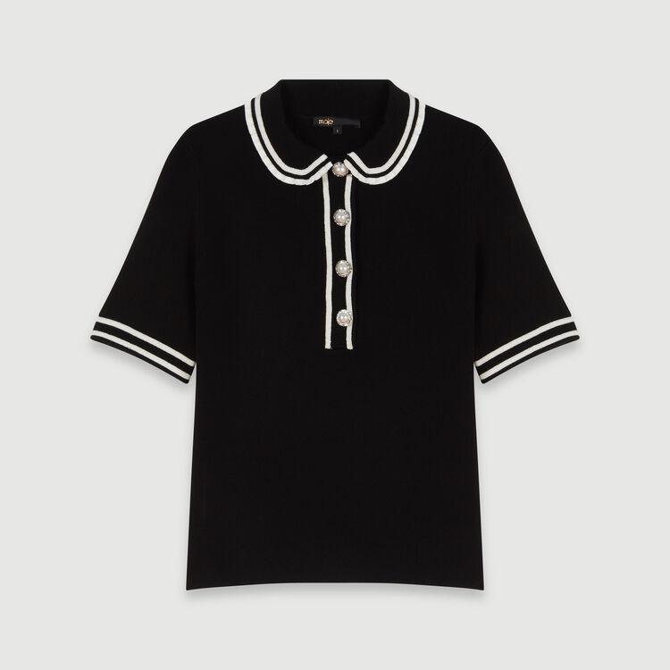 Pull tipo polo a contrasto con gioielli : Pullover e cardigan colore Nero