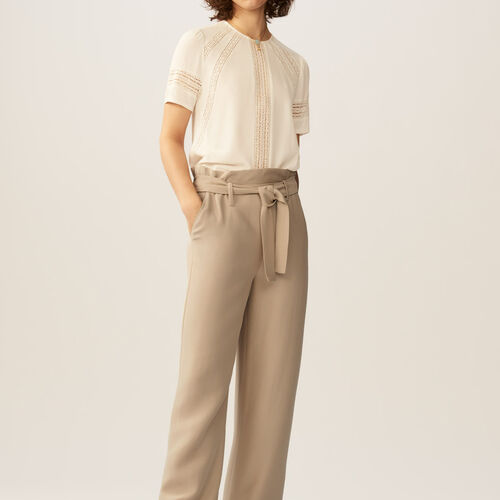 Wide leg trousers with belt : Pantaloni colore Beige