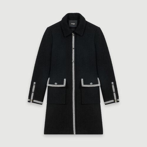Cappotto stile tweed a contrasto : Cappotti e Giubbotti colore Nero