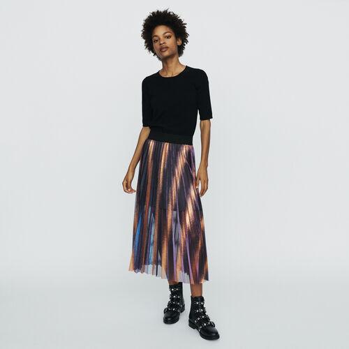 Gonna lunga plissettata e iridata : Gonne e shorts colore Multicolore
