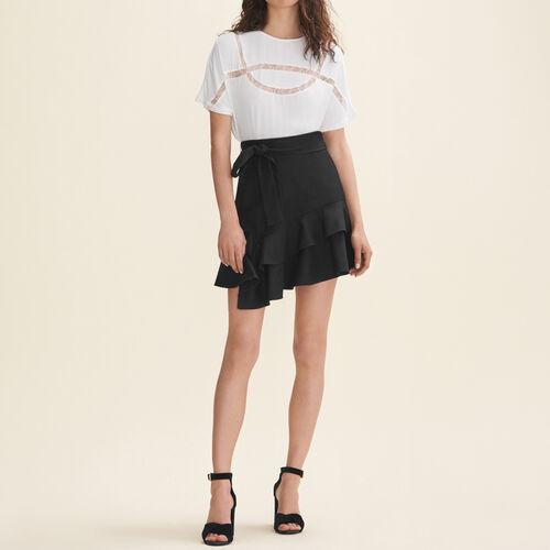 T-shirt fluida con pizzo : T-Shirts colore Bianco