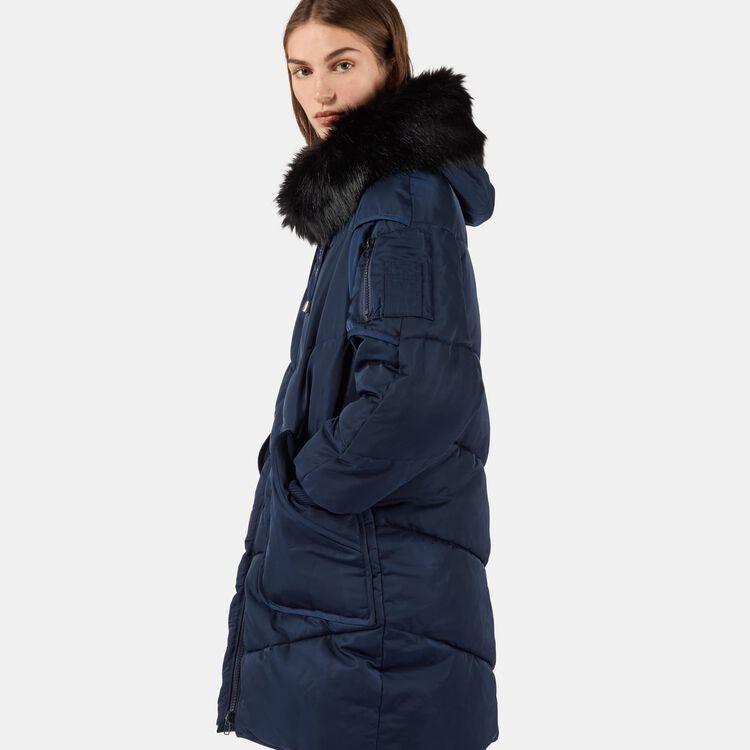 Piumino lungo con pelliccia : Nuova Collezione colore Blu Marino