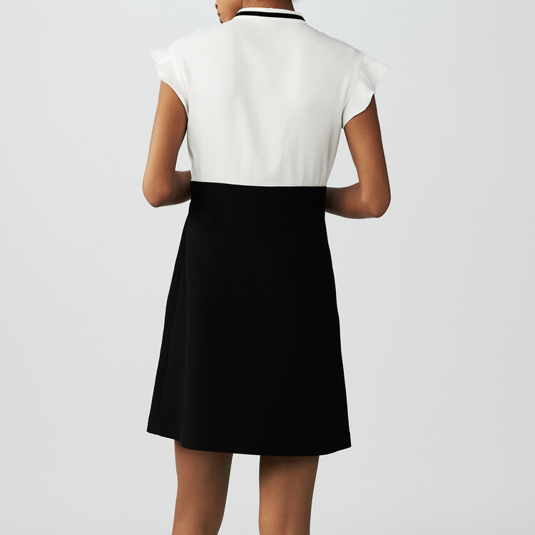 Vestito in crêpe bicolore con ricami : Vestiti colore Ecru
