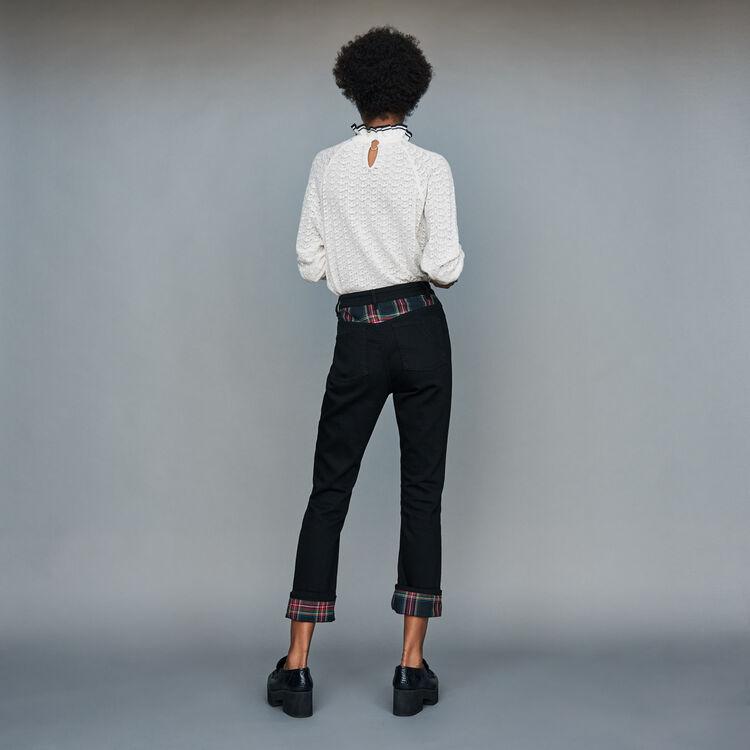 Jeans dritti con dettagli tartan : Jeans colore Nero