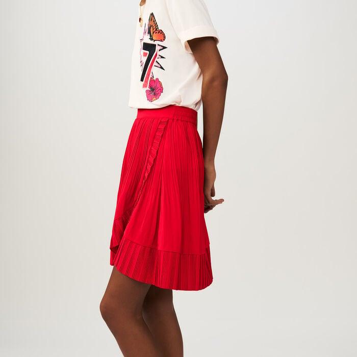Gonna corta a portafoglio plissettata : Gonne e shorts colore ROUGE