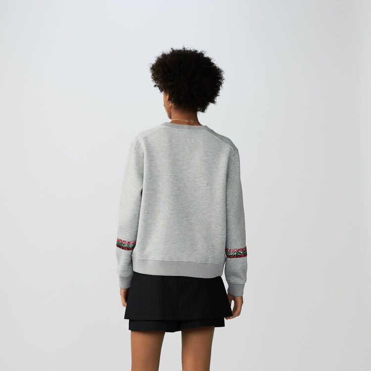 Felpa in cotone con slustrini : T-Shirts colore Grigio