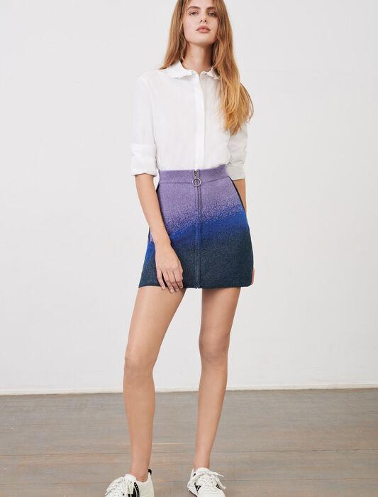 Gonna dritta con cerniera maglia lurex : Gonne e shorts colore Bleu/Vert/Violet