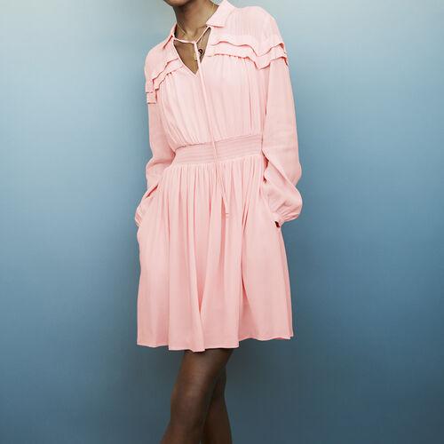 Vestito corto in crêpe con volant : Vestiti colore LILA